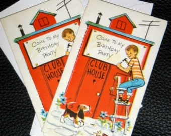 vintage cards ... BIRTHDAY BOY Party  announcement CARDS set of 2 ...
