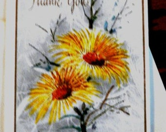 vintage cards ... THANK YOU Yellow floral CARD only ...