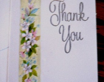 vintage cards ... THANK YOU Yellow floral Banner CARD with envelope ...
