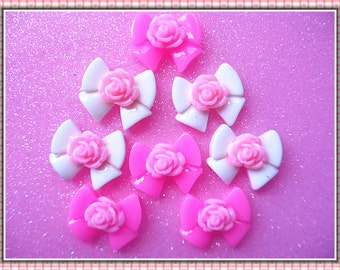 12pcs White & Pink bow flower flatback cabochon 21x18mm
