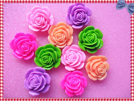 10pcs Mixed colors resin rose  flower cabochon 23mm