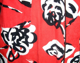 Vintage 80s Does 50s Red Floral Asian Insipired Robe Vintage Cotton 3/4 Sleeves S