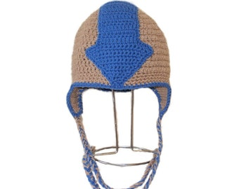 Aang Earflap Hat. (Any Sizes: Newborn to Adult). Please send the size.