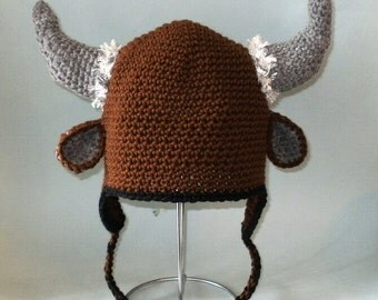 Bison Earflap Hat. (Any Sizes: Newborn to Adult). Please send the size.