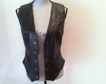 Leather Couture Vest - Espresso Brown 80s Modernist Boho Buttery Leather Snap Button Vest Size Small