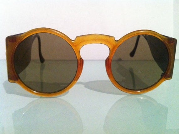 Rare 1920's Bakelite Round Frame Sunglasses with detail Made in USA