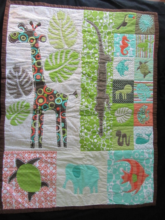 Safari Baby Quilt by BonfireBaublesNBeads on Etsy