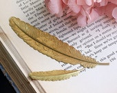 Brass Large Feather Bookmark, Brass Bookmark, 114x23mm, C05Y.BR15.P01