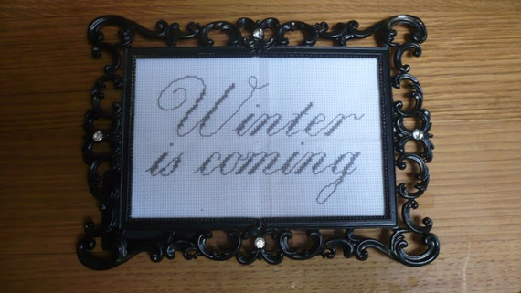 "Stark ""Winter is coming"" Game of Thrones cross stitch sampler"