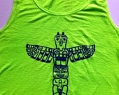 I Spy Totem - Bright Green Tank Adult Small - Original Silkscreen Print