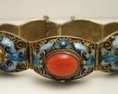 Rare Antique Very fine Vintage Chinese Gold Gilt Silver Filigree Natural sea Coral Blue Purple Enamel Bracelet