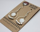 Silver and White Dangle Hoop Earrings