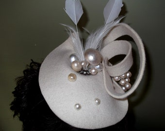 Felt wedding fascinator hat with pearls and feathers