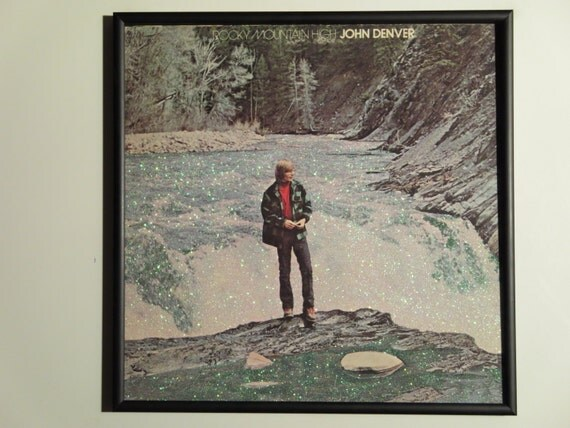 Glittered Record Album - John Denver - Rocky Mountain High