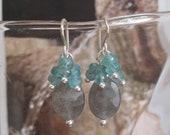 "925 ""Falling Waters"" Labradorite Apatite earrings Sterling Silver  faceted gemstones cluster  grey aqua blue beautiful French ear hooks"