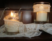 Vintage Wedding candle holders  lace with pearl bead trim set of 2