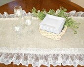 Burlap Lace Table Runner Wedding Shabby Chic