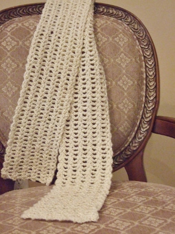 Cream Shimmer Crocheted Scarf