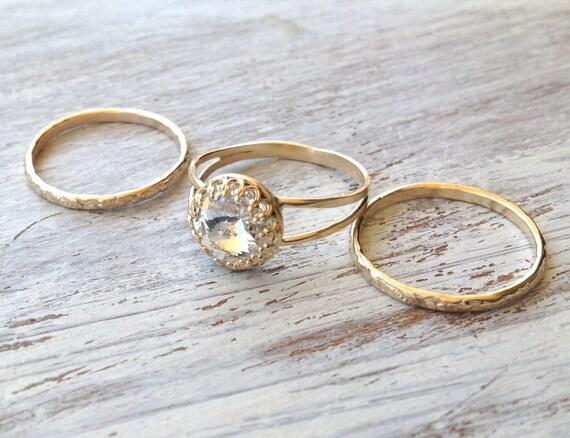 Set of rings - Gold ring, 3 stacking ring, vintage ring, gold rings, clear crystal ring, stack gold ring- RC3