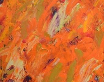 "Original Abstract Oil Painting - ""Orange Burst"""