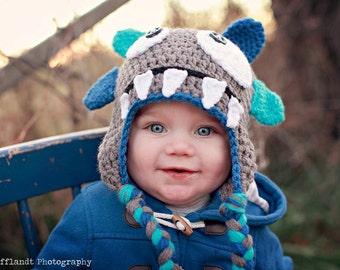 Monster hat. Monster beanie. Boy monster beanie. Girl monster beanie. You choose colors. Monster beanie photo prop.