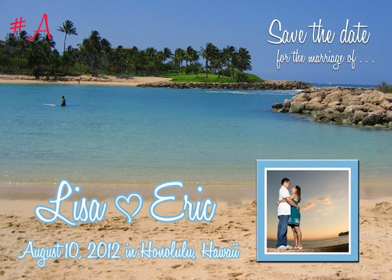 Hawaii Beach Wedding Save the Date Photo Card, Printable