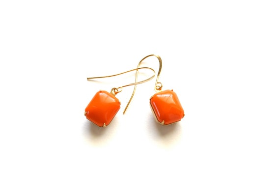 Orange Glass Stone Earrings, Under 15 dollars