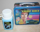 Vintage Authentic Knight Rider Metal Lunchbox with Thermos 1982 David Hasselhoff Kitt Trans Am