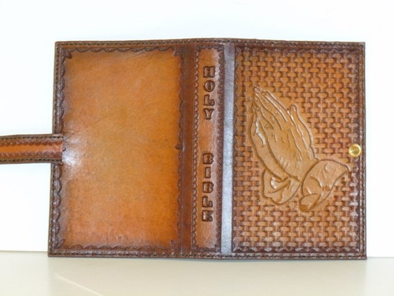 Praying Hands Bible Cover With Basket weave Background (Custom made for your Bible)