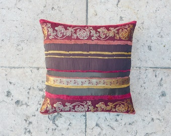 18x18 STRIPED PILLOW Cover THROW Pillow, Embroidered