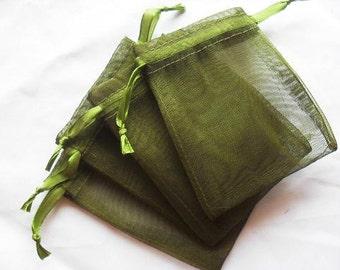 100 3x4 Olive Green Organza bags, 3x4 inch