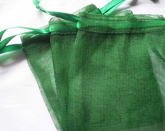 75 4x6 Dark Green Organza bags, 4x6 inch