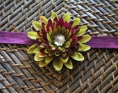 Exclusive - Deep Plum and Olive Green Flower on a Plum Elastic Headband with a Jewel Center- Baby Headband - Adult Headband