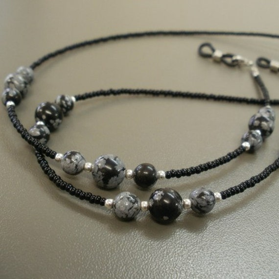 Beaded Spectacle Chain - Snowflake Obsidian Trios