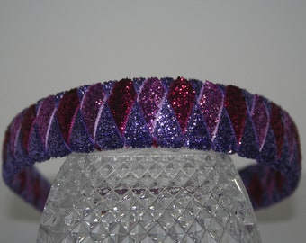 Purple and Pink Woven Glitter Ribbon Headband