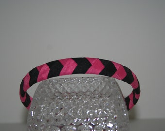 Pink and Black Woven Ribbon Headband
