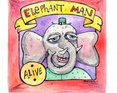 Elephant Man Watercolor Painting by John Dinser