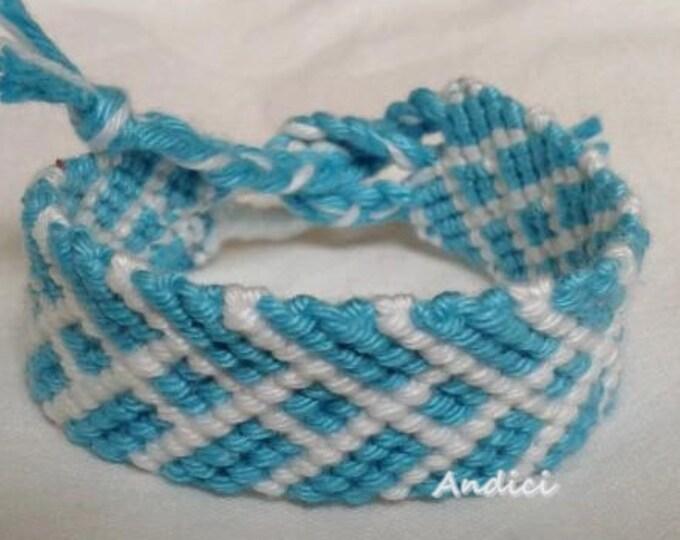 WIDE Blue and White Friendship Bracelet, Macrame, Woven Bracelet, Wristband, Knotted Bracelet