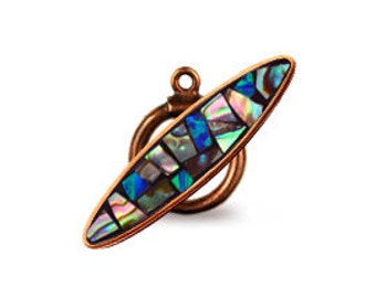Custom Handmade Old World Bronze Abalone inlay toggle