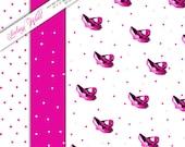 Hot Pink Shoe and Polka Dot digital Gift Wrap