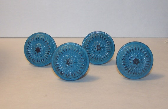 Turquoise blue cast iron knobs set of 4 dresser by for Turquoise cabinet pulls
