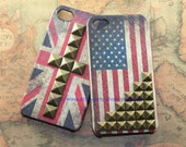 iPhone 4 4S case ---Vintage Flags America Texas British Country State Leather iphone case cover