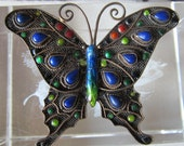 Antique Sterling butterfly brooch enamel gems collectible jewelry from 1920s