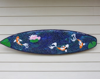 Zen inspired Lotus & Koi stained glass mosaic surfboard