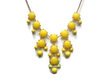 Mini Bubble Necklace, Small Bauble Necklace, Yellow Mini Bubble Necklace, J Crew Inspired, Yellow Bib Necklace