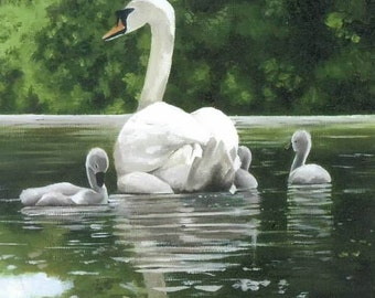 Swan with Cygnets Notecard