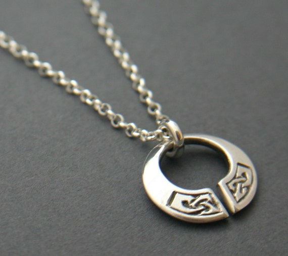 Silver Celtic Knot Torc Pendant on 16 or 18 inch chain