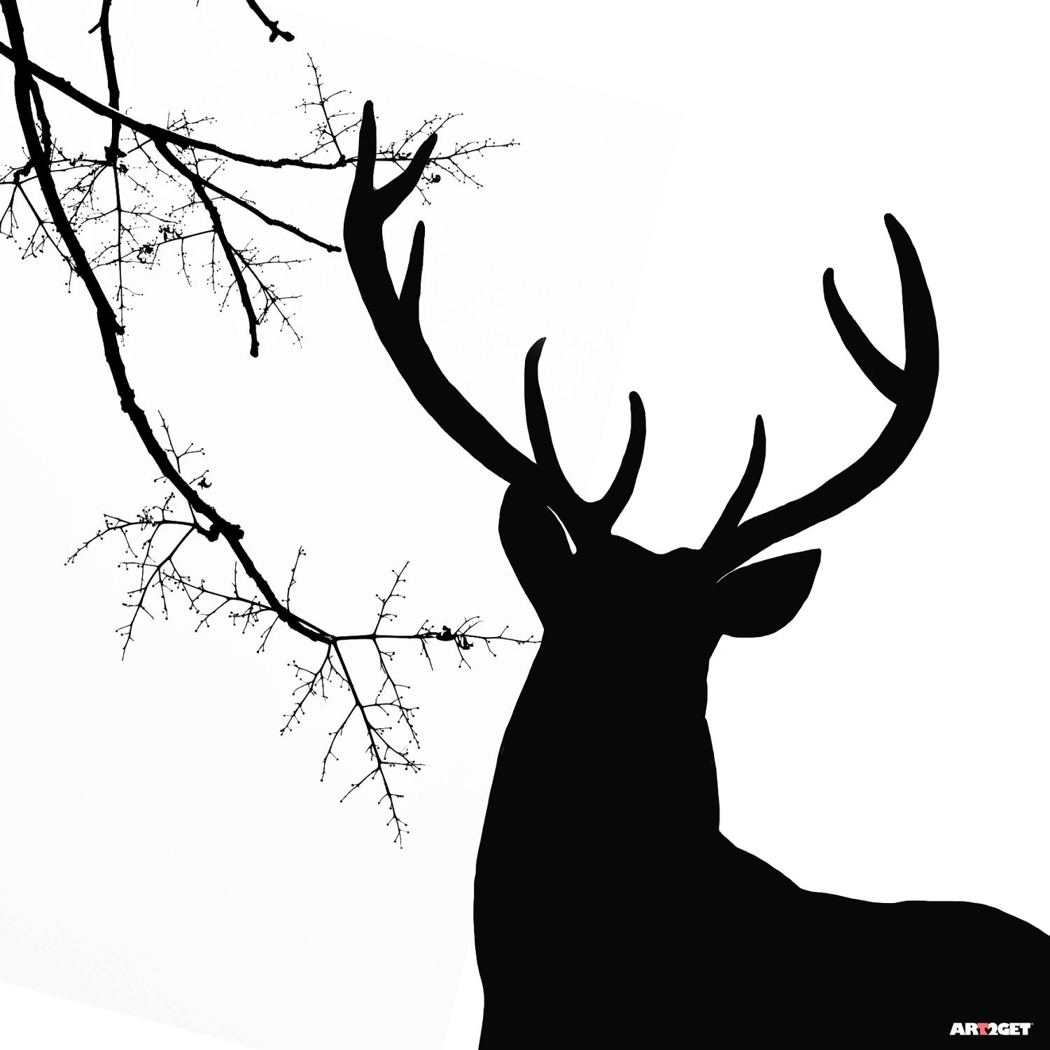 Deer Black And White Wall Art Print On Canvas For Room Decor