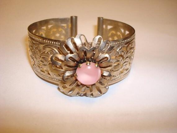 Vintage Gold Filigree Cuff Bracelet with Pink Moonstone