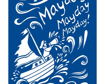 Mayday mayday mayday, Nautical print of a sinking boat